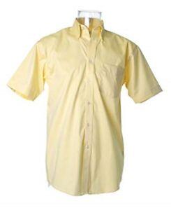 Kustom Kit KK109 Mens Short sleeve shirt office casual work wedding Lemon yellow