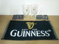 guinness stout pub home drip golf bar towel beer mat 2 glasses man cave gift set