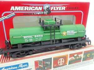 1993 American Flyer Green British Columbia Tank Car by Lionel. #48403 Read On