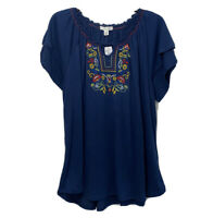 New York Laundry Womens Plus 2X Embroidered Top Blouse Tiered Short Slv Stretch