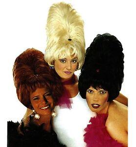 Ladies Black/Brown/Blonde Tall Patsy Wig Drag Ab Fab Fancy Dress Beehive 60s 70s