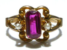 ART NOUVEAU DECO SWEET OSTBY BARTON SYNTHETIC PINK SAPPHIRE PEARL RING SIZE 6.25