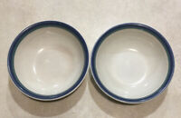 Lot of 2 Pfaltzgraff Northwinds Soup Cereal Bowls Stoneware Blue Green Retired