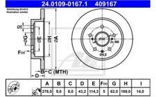 ATE Juego de 2 discos freno 278mm Para FIAT SEDICI SUZUKI SX4 24.0109-0167.1