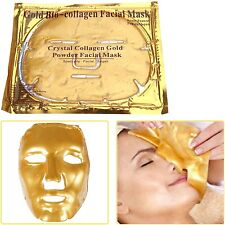 3 x GOLD PREMIUM COLLAGEN BIO ANTI AGEING WRINK MOISTURE CARE CRYSTAL FACE MASK