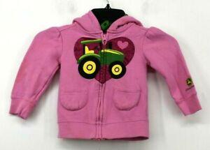 John Deere Toddler Pink Heart Tractor Full Zip Long Sleeve Hoodie Jacket 2T