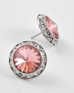 """Pink Silver Stud Fashion Earrings Made With Crystal Swarovski Elements 5/8"""" 15mm"""