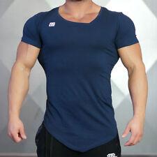 Mens Long Tail Tee Short Sleeve Collar Irregular Design Slim Fit Gym T shirt
