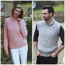 KNITTING PATTERN Mens/Ladies Roll Collar Cable Jumpers Aran King Cole 4627