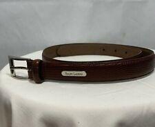Polo Ralph Lauren Medium Embossed Brown Leather Belt Silver Buckle NWT See Desc