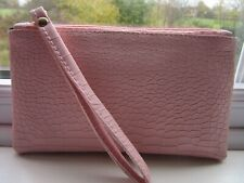 CLUTCH BAG PURSE PINK WITH WRIST STRAP LINED INTERIOR FAUX LEATHER WRISTLET