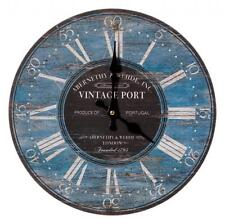 Antique Style Vintage Port Blue Black White Distressed Finish Round Wall Clock