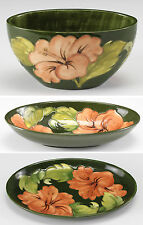 3pc English Moorcroft Pottery Hand painted hibiscus bowls, platter. Hand painted