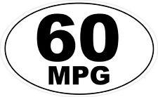 60 MPG OVAL VINYL STICKER - Transport Miles Per Gallon Themed 16 cm x 9 cm