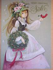 Vintage Hallmark Christmas Card with Bow and Glitter - Mint