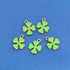 5 Clover Charms Goldplated Enamel Fun and Colorful - E279