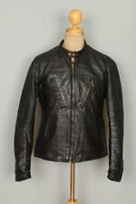 Vtg 60s Passaic Black Cafe Racer Leather Motorcycle Jacket 40/42 Medium/Large