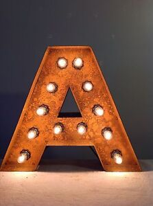 """New Rustic Metal Letter A Light Marquee: Sign Wall Decoration 12"""" Vintage"""