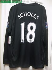 BNWT SCHOLES #18 Manchester United 2009-2010 Away Long-Sleeves Shirt Jersey XL