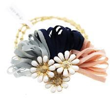 rose blanc fleurs bleues femme fille élastique à cheveux enveloppant accessoires