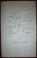 Louise de Vimorin dessin encre sur papier signée 51 Saint-Exupéry Malraux Fleur