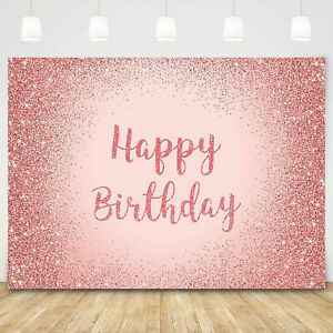 Rose Gold Birthday Backdrop Party Background Photo Banner Studio Prop Decor