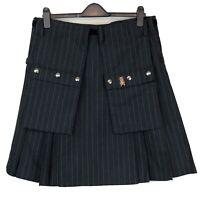 SKILT Charcoal Grey Chalk Stripe with Red Raver Dashing Tweed Kilt Size S/M