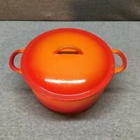 Descoware Belgium Flame Orange 2-D Dutch oven/pot w lid, enamelware, cast iron