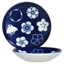 "2 PCS. Japanese 3.75""D Porcelain Soy Sushi Sauce Dipping Dishes Ume Chidori Bird"