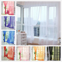 Hot Sale Floral Tulle Voile Door Window Curtain Drape Panel Sheer Scarf Valance