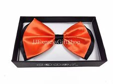 NEW Black Neon Orange Tuxedo Classic Clip-On BowTie Neckwear Adjustable Bow Tie