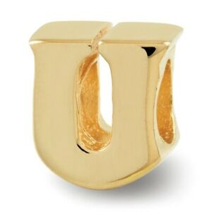 Letter U Bead Charm in 14k Yellow Gold Plated Sterling Silver