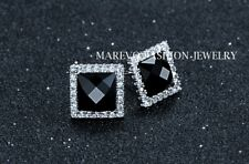Men's 925 Sterling Silver Square Stud Earrings Black Agate CZ Pave Luxury Studs