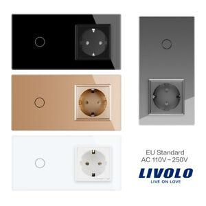 Livolo Lichtschalter Wandsteckdose Steckdose  Glas Touch in Weiss/Schwarz/Grau