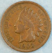 1903 Indian Head Cent Vintage Penny Old US Coin Full Rims Fast S&H 76786