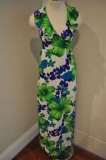Vintage Pomare Floral Tropical HALTER Ruffle MAXI DRESS VLV Barkcloth TIKI xs/s
