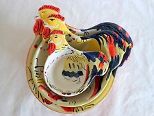 ROOSTER MEASURING CUPS Set of 3 Ceramic 1/2 to 3 Cup Chicken Hand Painted