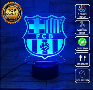 BARCELONA FC SOCCER 3D Acrylic LED 7 Colour Night Light Touch Table Lamp