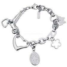 .Charm Women Silver Color Oval Chain Stainless Steel Jewelry Bracelet 8.5""