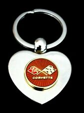 Corvette C3 Silver Heart Shaped Keyring Great Gift(Free Hand Engraving!