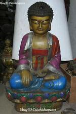 "39 ""Old Purple Bronze Statue Lotus Shakyamuni Amitabha Tathagata Buddha"