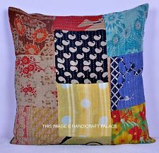 Indian Kantha Sofa Cushion Covers Patchwork Pillow Case Decorative Bohemian Boho