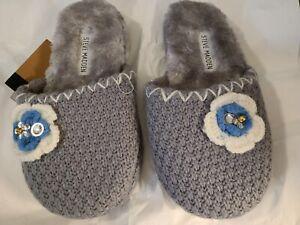 Steve Madden Gray Slippers Slide Knit W/Crochet Flower & Fleece 5/6 Medium New