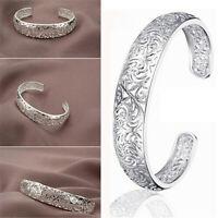 Women's 925 Sterling Silver Hollow Cuff Bangle Adjustable Open Bracelet Jewelry