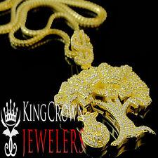 10K Yellow Gold Sterling Silver Lab Diamond Money Tree Pendant Money Bag + Chain