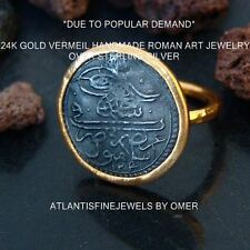 Hammered Designer Ottoman Coin Ring 24k Yellow Gold Over Sterling Silver By Omer