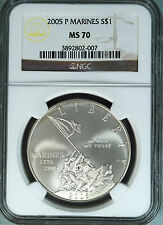2005 P NGC MS-70 US MARINE CORPS $1 COMMEMORATIVE SILVER DOLLAR MS70