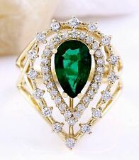2.48 Carat Natural Emerald and Diamond 18K Yellow Gold Engagement Ring
