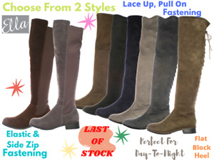 Ladies Ella Faux Suede Over The Knee Flat Laces Elasticated Pull On Riding Boots