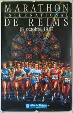 Affiche MARATHON INTERNATIONAL DE REIMS 1987 illustr. PERPERE